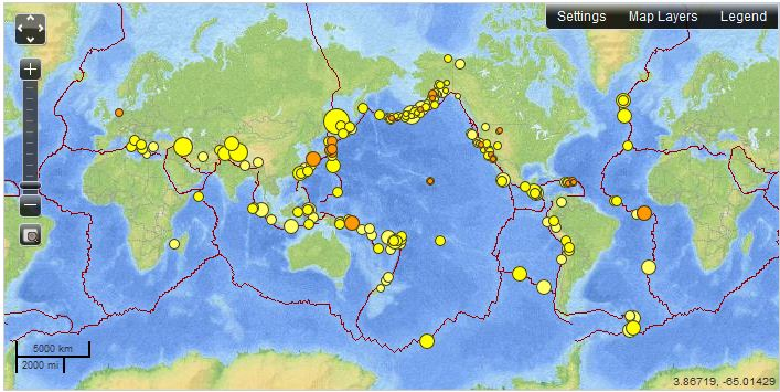 Real Time Earthquake Map Geography Education