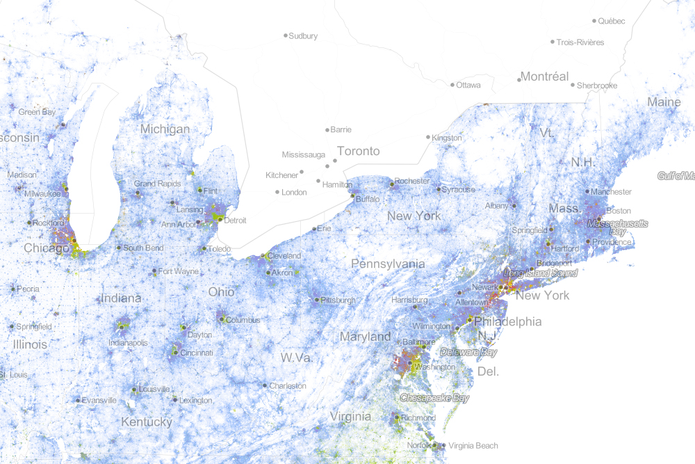Drawing On Data From The 2010 U S Census The Map Shows One Dot Per Person Color Coded By Race That S 308 745 538 Dots In All