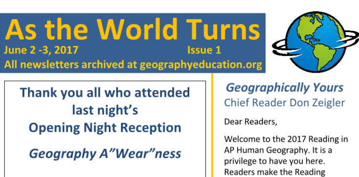 2017 aphg newsletters geography education